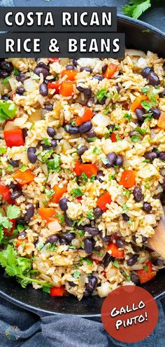 4 reviews · 30 minutes · Vegan Gluten free · Serves 4 · Costa Rican Gallo Pinto is a rice and beans recipe that is loaded with flavor from a special sauce. This authentic recipe is made as Lizano sauce coats black beans, rice, peppers and onions for a… Vegetable Side Dishes, Side Dishes Easy, Vegetable Recipes, Amazing Vegetarian Recipes, Meat Recipes For Dinner, Healthy Spring Recipes, Spring Soups, Rice And Beans Recipe, Easy Salads