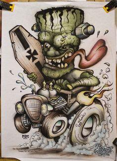 Airbrushed Frankenstein Shirt by Jesper Bram, via Behance