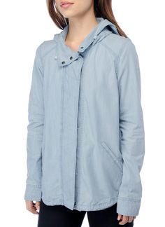 Sara Jacket from BB Dakota - A hooded jacket in a more lightweight cotton for summer. The coloration is very similar to a denim look.