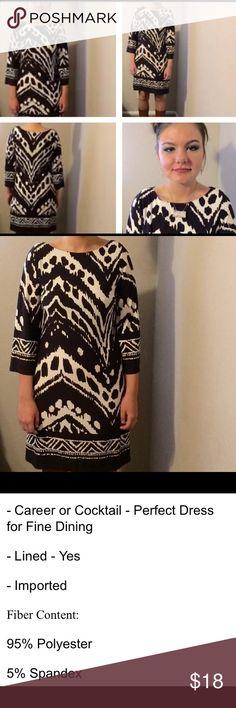 Enfocus Studio Size 6 Dress Sheath Enfocus Studio Black and White Size 6 Ikat Pattern Dress Sheath enfocus Dresses Midi