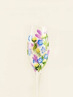 Summer Wildflower CRYSTAL Champagne Toasting Flutes Set of 2 - Hand-Painted Yellow Roses Purple Lupine Blue Forget-me-Nots - Wedding Gifts by HandPaintedPetals on Etsy