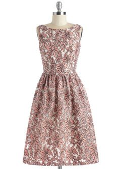 Glam of Make Believe Dress - Long, Woven, Blush, Print, Embroidery, Special Occasion, Prom, Wedding, Party, Bridesmaid, Pastel, Fit & Flare, Sleeveless, Floral