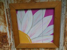 Hand Painted White Daisy Flower Painting on Reclaimed wood and framed with a Golden Oak Frame.