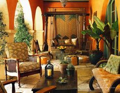 Bali, Morocco and India come together in a Beverly Hills loggia. Madeline Stuart Interiors.