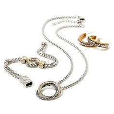 Emma Skye 2-Tone Crystal 3pc Wardrobe Set, $99.95 for a bracelet, a necklace and a pair of earrings in Stainless Steel at HSN
