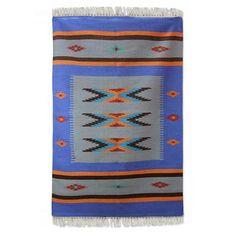 India Handwoven Blue Dhurrie Accent Rug (4 x 6) - Sapphire Sonnet | NOVICA