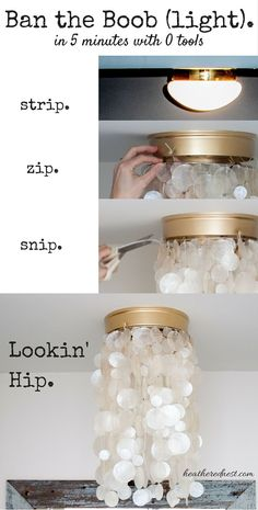 diy chandelier redo Diy Light Fixtures, Ceiling Fixtures, Light Fixture Makeover, Ceiling Fan Makeover, Ceiling Hooks, Lamp Makeover, Light Fittings, Luminaria Diy, Diy Luminaire