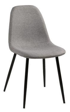 Selma+Spisebordsstol+-+Grå+-+Enkel+og+smuk+spisebordsstol+i+lysegrå.+Spisebordsstolen+er+fremstillet+i+gråt+stof+og+har+et+sort+metalstel.+En+perfekt+spisebordsstol+til+det+minimalistiske+hjem.