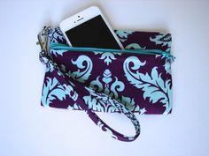 Wristlet Wallet in Purple and Turquoise Damask, Joel Dewberry, Aviary, Keychain Wallet, Iphone Wallet