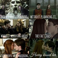"""""""And without thinking, without planning it. Harry kissed her. Rowling (Harry Potter and the Half Blood Prince) Rowling Harry Potter, Harry Potter Film, Gina Harry Potter, Harry Y Ginny, Harry Potter Couples, Harry Potter Ginny Weasley, Harry Potter Ships, Hermione Granger, Harry Potter Jokes"""
