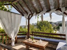 A true life story in the traditional village of Piso Livadi in Paros Island, Greece. Paros Island, Seaside Village, Outdoor Furniture, Outdoor Decor, Terrace, Greece, Pergola, Outdoor Structures, Traditional