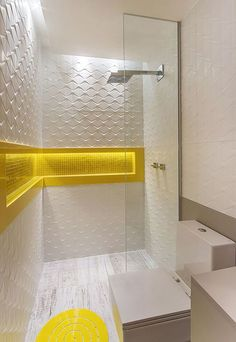 Do you want to have a modern small bathroom? Here we present the 45 Modern Small Bathroom Decor Ideas. May you inspire and build your bathroom as you wish from this article. Yellow Bathroom Decor, Yellow Bathrooms, Bathroom Interior, White Bathroom, Bad Inspiration, Bathroom Inspiration, Bathroom Ideas, Bathroom Remodeling, Remodeling Ideas