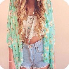 lace crop top, denim, & pastel kimono || zazumi.com