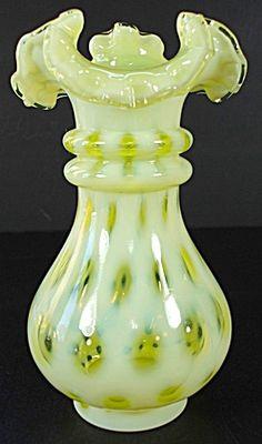 Fenton Coin Dot Vase in Topaz Opalescent