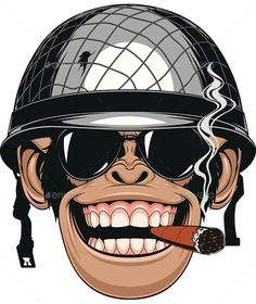 Illustration of Vector illustration of funny chimpanzee monkey in a soldier's helmet smokes a cigar vector art, clipart and stock vectors. Gravure Illustration, Illustration Art, Illustrations, Monkey Art, Gas Monkey, Pop Art, Monkey Wallpaper, Military Drawings, Cartoon Art