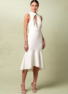 Vogue Patterns Sewing Pattern Misses' Lined Flounced Dress with Banded Neck and Deep-V Front Vogue Patterns, Clothing Patterns, Dress Patterns, White Dress Summer, Summer Dresses, Beach Dresses, Robe Diy, Miss Dress, White Outfits