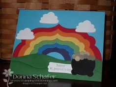 """St Patrick's day / luck / pot of gold / rainbow::  Accessories:  Framelits Labels Collection, Big Shot, Cupcake punch (clouds), 1 3/8"""" circle punch, Word Window punch, Two-Step Owl Punch (gold pieces). @Judy"""