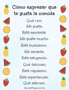 Teach young bilingual kids ways to say delicious in Spanish, so they can express personal reactions at meals. These 12 phrases to say you like a food can also be used to practice agreement. Spanish Grammar, Spanish Phrases, Spanish Vocabulary, Spanish English, Spanish Words, Spanish Teacher, How To Speak Spanish, Learn Spanish, Spanish Sayings
