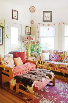The floral sofa is from Anthropologie; she got it at a discounted price because it was the floor sample.