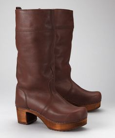 I wish they had my size!!!  I would wear these constantly. Take a look at this Brown Block Boot - Women by Sanita on #zulily today!