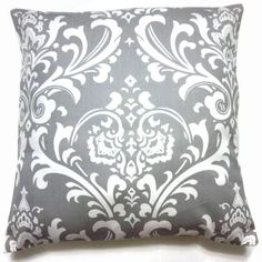 Two Gray White Pillow Covers Decorative Traditional Design Toss Accent Throw Covers 16 inch. $25.00, via Etsy.