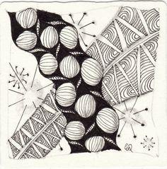 Ein Zentangle aus den Mustern African Artist, Ahh, Banderole,  gezeichnet von Ela Rieger, CZT