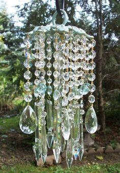 vintage crystal wind chime