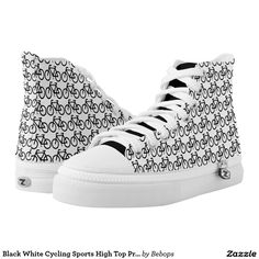 Black White Cycling Sports High Top Printed Shoes