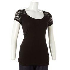 Lace Shoulder/Back T-Shirt- Jr.