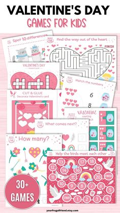 These Valentine's Day games for kids will entertain you child for hours! There are 30+ games to enjoy. Simply print the PDF and enjoy with your child. You can print as many times as you need. You will receive 30 games/activities and 2 Valentine's Day card templates - all kid tested and approved! Games include: mazes, brain teasers, seek and finds, a crossword puzzle, cut and glue activities, tic tac toe, and spot the difference puzzles. #valentinesday Valentines Day Card Templates, Funny Valentines Cards, Valentines Day Party, Valentine Day Crafts, Valentine Ideas, Games For Kids, Activities For Kids, Valentine's Day Party Games, Valentine's Cards For Kids