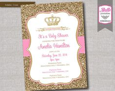 Baby Shower Invitation - Princess Crown for Girl and Gold Glitter- DIY Printable - Pink on Etsy, $12.50