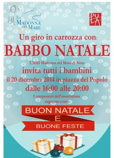 Un giro in carrozza con Babbo Natale a#Pulail 20 dicembre dalle 16:00 alle 20:00 in piazza del Popolo#Natale2014#Sardegna@asdMadonnadel MarediNora  https://www.facebook.com/Pula.it/photos/a.148263651963894.3356.142246605898932/271375669652691/?type=1&theater