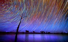 Amazing star trails over the Australian Outback by Lincoln Harrison - A long exposure image of the Milky Way over the Australian Outback Picture: LINCOLN HARRISON - CATERS NEWS