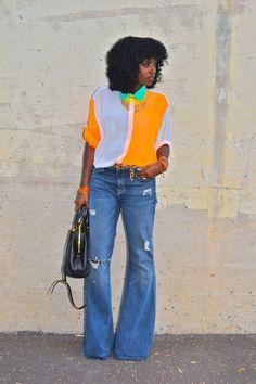 American Apparel color block shirt love the colors Cute Fashion, Denim Fashion, Fashion Outfits, Spring Fashion, Women's Fashion, Le Happy, Estilo Jeans, Look 2018, Bohemian Style Clothing