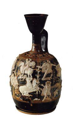Lekythos with Boar Hunt, signed Xenophantos the Athenian, ca. 380 BCE. Clay…
