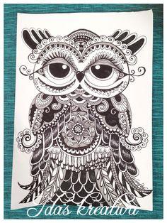Drawing zentangle doodles Owl www.idaskreativa.blogspot.com