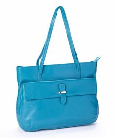 This Teal Leather Pocket Tote by Zenith is perfect! #zulilyfinds