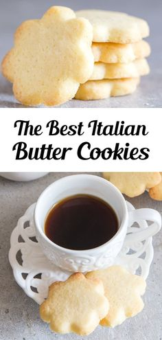 A buttery simple Italian Cookie. This is the easiest butter cookie recipe! Serve this easy cookie recipe as a holiday cookie or with tea or coffee in the afternoon. Try making these easy Italian Butter Cookies for afternoon tea, or anytime! #buttercookies #cookies Cookie Desserts, Easy Desserts, Cookie Recipes, Delicious Desserts, Dessert Recipes, Bar Recipes, Recipies, Italian Butter Cookies, Butter Cookies Recipe