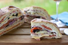 A GIANT sandwich perfect for backpacking, picnics, or your favorite outdoor activity. It serves up to 6 & is supposed to get squished! Hiking Food, Backpacking Food, Camping Meals, Muffaletta Recipe, Best Sandwich Recipes, Burger Dogs, Burgers, Gourmet Recipes, Healthy Recipes