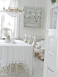 Shabby Chic Dining room - I love the white femininity and the door(s) leading in