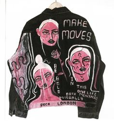 Hand painted denim''MAKE MOVES' Unisex hand painted jacket Uk size ...