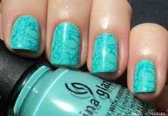 Love! China Glaze Aquadelic with Essence Caribbean Sea and BPS plate m70. From a fave blogger across the pond, OoohShinies.