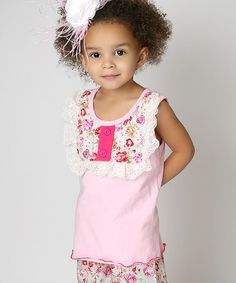 Pink Floral Lace Top - Infant, Toddler & Girls by Lollies and Lace Boutique #zulily #zulilyfinds