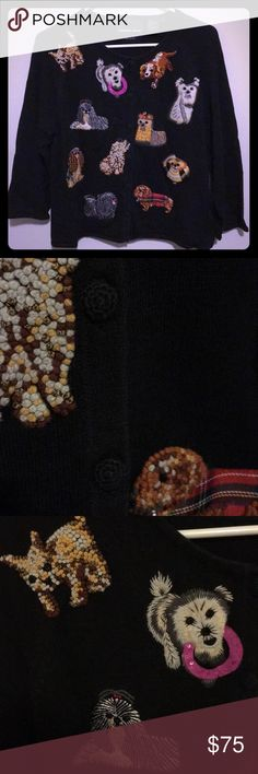 Vintage Doggie Sweater A truly one-of-a-kind, black button down sweater with 11 cute dog breeds.  Super unique, cozy, stylish, and close to home because we all love our pups❤️🐶  Will ship immediately📦✅ Questions⁉️Please ask‼️ Thank you for looking 🤩😍 Michael Simon Tops