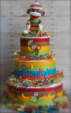 Sock monkey diaper cake...how cute is this!