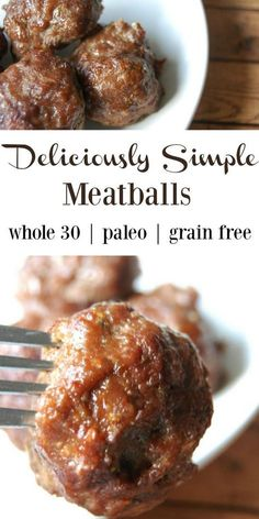 Deliciously Simple Meatballs - No grains, no fillers, just simple proteins and delicious seasoning! Perfect for whole paleo, or grain free/gluten free fans! Also makes great kid lunches! dinner no meat Deliciously Simple Meatballs – Grain Free Healthy Recipes, Gluten Free Recipes, Real Food Recipes, Cooking Recipes, Diet Recipes, Paleo Recipes For Kids, Whole30 Ground Beef Recipes, Vegetarian Recipes, Healthy Options