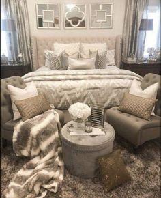 Bedroom Ideas fantabulous ref - Ingenious and cozy bedroom decor. Filed under diy bedroom decorating ideas, generated on 20190426 Glam Bedroom, Cozy Bedroom, Bedroom Apartment, Home Decor Bedroom, Modern Bedroom, Girls Bedroom, Bedroom Furniture, Contemporary Bedroom, Silver Bedroom