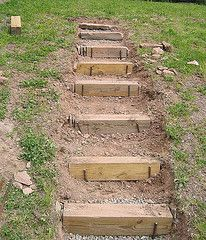 steps up a slope using timbers | The lower 6 steps are formed from 6x6 held in place with rebar. All ...
