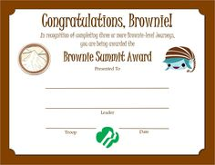 Award Certificates, Brownie Girl Scouts, Troops, Brownies, Congratulations, Cake Brownies