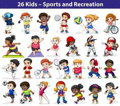 Kids engaging in different indoor and outdoor activities on a white background